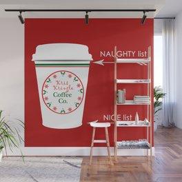 Christmas Naughty Nice Coffee Cup Wall Mural