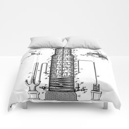 Whisky Patent - Whisky Still Art - Black And White Comforters