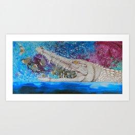 Albino Crocodile Art Print
