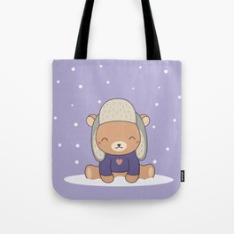 Kawaii Cute Winter Bear Tote Bag