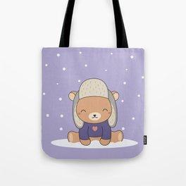 Kawaii Cute Winter Bear Tote Bag