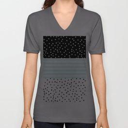 Modern black white teal stripes watercolor polka dots Unisex V-Ausschnitt