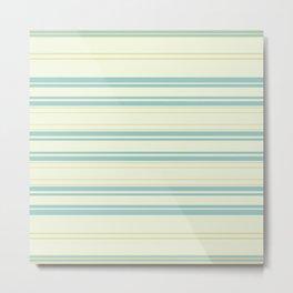 Yellow Blue Teal Strips Metal Print