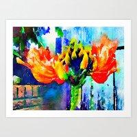 Orange Tulip Flower Art Print