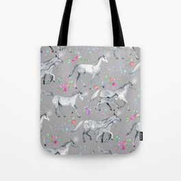 Unicorns and Stars on Soft Grey Tote Bag