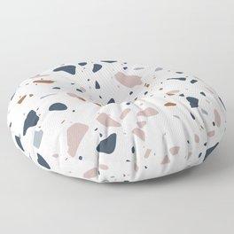 Navy, Mustard, Dusty Pink Terrazzo Pattern Floor Pillow