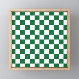 Checkered (Dark Green & White Pattern) Framed Mini Art Print
