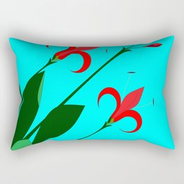 A Garden of Big Red Flowers with Buds with Blue Rectangular Pillow