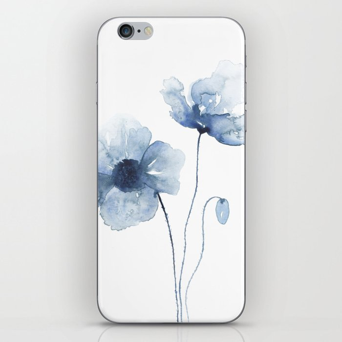 Blue Watercolor Poppies iPhone Skin