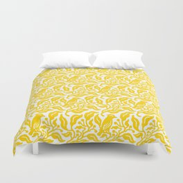 Bird and Berries Pattern Yellow Duvet Cover