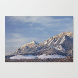 Winter Snow on Flatirons in Boulder Colorado Canvas Print