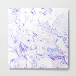 Pastel Marble Purple Blue Glitter Metal Print