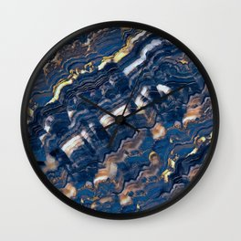 Blue marble with Golden streaks Wall Clock