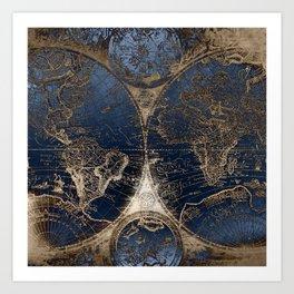 World Map Deep Blue and Gold Art Print