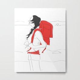 Backpacking Girl Metal Print