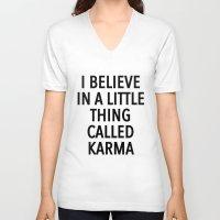 karma V-neck T-shirts featuring karma by ClicheZero