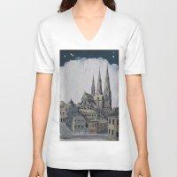 sweden V-neck T-shirts featuring Uppsala Sweden by Alejandro D