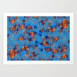 little orange hearts Art Print