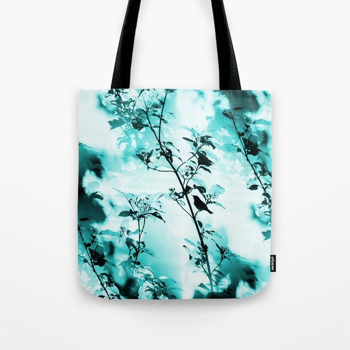 Silhouette of songbird on a branch in turquoise variation #decor #society6 Tote Bag