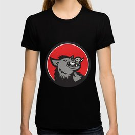 Wild Boar Head Angry Looking Up Circle Retro T-shirt