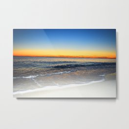 White Sand, Blue Water, Orange Sky Metal Print