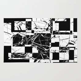 Manipulated Marble - Black and white, abstract, geometric, marble style art Rug