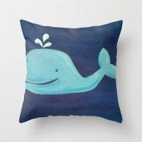 nursery Throw Pillows featuring Nursery Whale by Melanie Russo