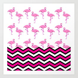Pink Zebra Chevron with Flamingos Art Print