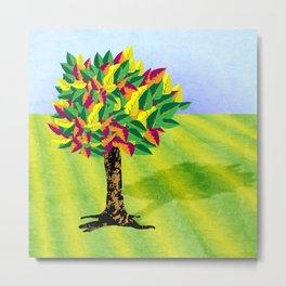 Autumn tree in a field Metal Print