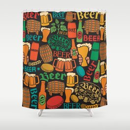 beer icons seamless pattern (hops leaf, wooden barrel, glass, can, mug, bottles) Shower Curtain