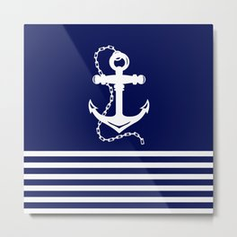 AFE Navy & White Anchor and Chain Metal Print