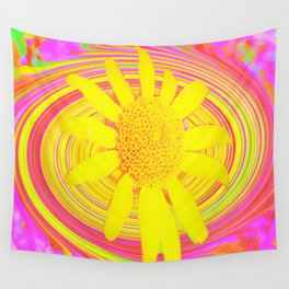 Yellow Sunflower on a Fuchsia Psychedelic Swirl Wall Tapestry