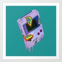 gameboy Art Prints featuring Gameboy Melt by KING BOZU