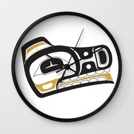 Northwest Pacific American Native Totem In Gold No. 11 Wall Clock