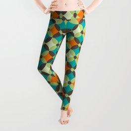 Retro Abstract Geometric 60s 70s Vintage Pattern Leggings