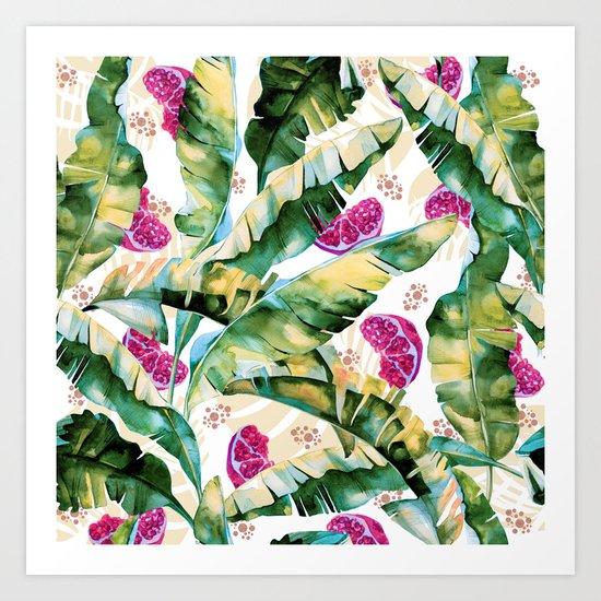 Banana leaf & Pomegranate II Art Print