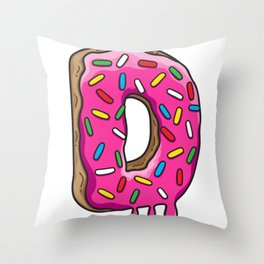 D is for Donut Throw Pillow