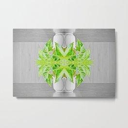 Fresh green plant surreal shaped symmetrical kaleidoscope Metal Print