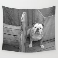 bulldog Wall Tapestries featuring Bulldog by Kaleena Kollmeier