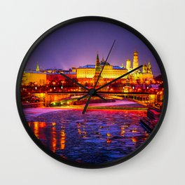 Moscow Kremlin And The Moscow River In The Winter Night Wall Clock