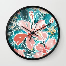 HELLO HIBISCUS - CORAL Wall Clock