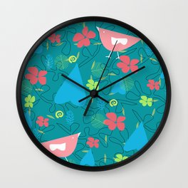 pink birds walking in the woods Wall Clock