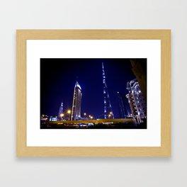 Pointing to the stars - Dubai Burj Khalifa Night Framed Art Print