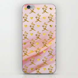 Gold Chinese Love symbol on rose marble iPhone Skin
