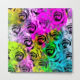 rose texture abstract  with colorful painting abstract background in pink blue yellow green Metal Print