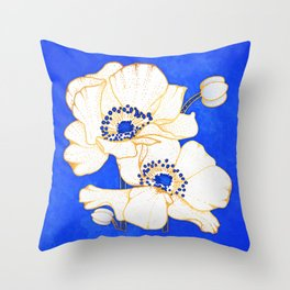 Ultramarine Blue :: Anemones Throw Pillow