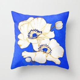Ultramarine Blue :: Anemones Throw Pillow