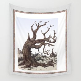 ANCIENT PINE SNAG VINTAGE PEN DRAWING Wall Tapestry
