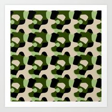 Green Camo Pattern Art Print