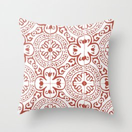 Red Mosaic Pattern Mexican Riviera Throw Pillow